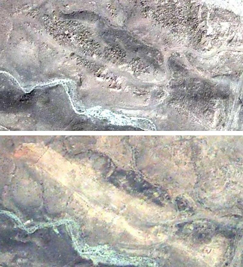 «Поле хачкаров» в Джульфе до и после разрушения (скриншоты Google Earth).