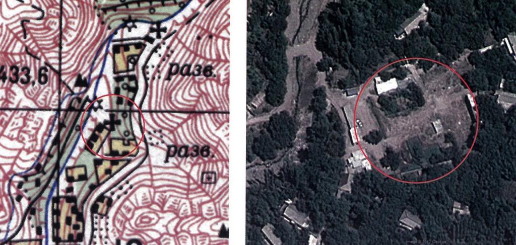 Место храма Сурб Степанос в селе Агулис на карте 1976 года (масштаб 1:50000) и сегодня (скриншот Google Earth).